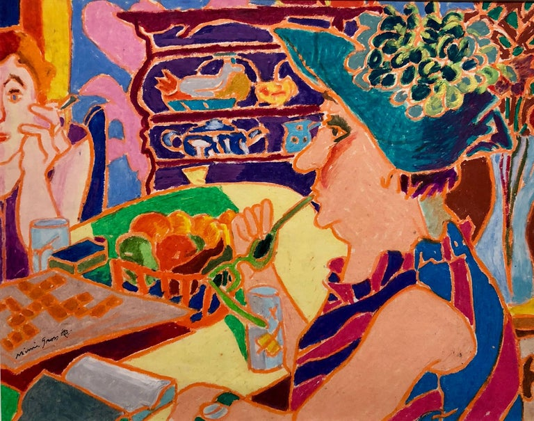 Mimi Gross Figurative Art - Vibrant Colorful Drawing in Oil Pastel Women in Cafe