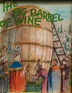 Barrel of Wine, Original Watercolor and Ink Illustration Important Chabad Artist