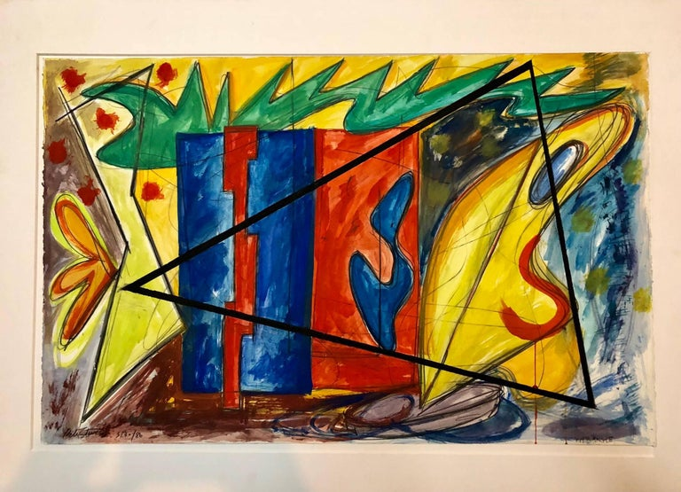 Large 80s Vibrant Dynamic Drawing/Painting Memphis Milano Era For Sale 5