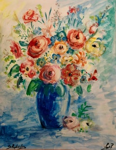 Large vase with Flowers,  Israeli Floral Judaica Painting