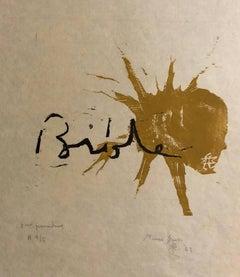 Woodcut Print, 'Bible' Biblical Scene Signed Small Edition