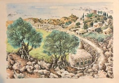 Hebron, 1967 Israeli Judaica Mixed Media Print Watercolor Painting