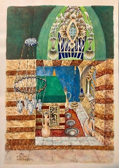 Machpela Cave Chevron 1969 Israeli Judaica Mixed Media Print Watercolor Painting