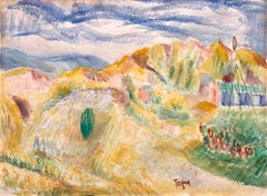 Expressionist Watercolor Landscape Painting Jewish Modernist