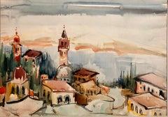 1940s Israeli Modernist Watercolor Painting Harbor Landscape Bezalel School