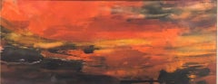 Abstract Expressionist Watercolor Fiery Sky