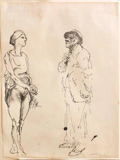 Ink Drawing Man in Suit and Hat with Nude