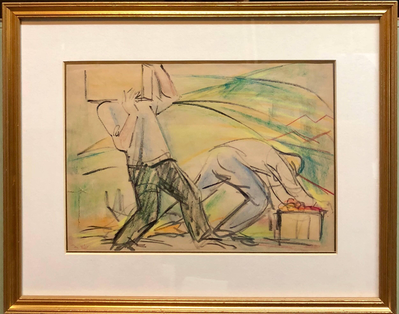 Men Working on Kibbutz Palestine, Israeli Judaica Pastel Drawing