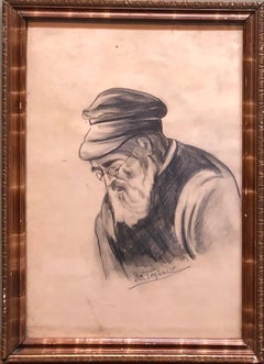 Old Jewish Shtetl Rabbi Charcoal Judaica Drawing World War II Era