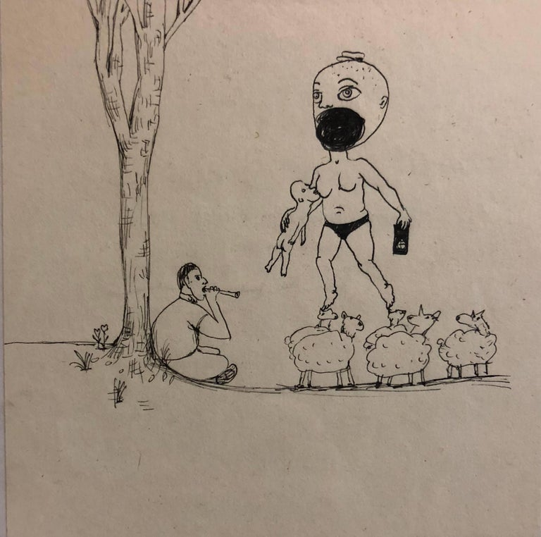 Collaborative Contemporary Surrealist Cartoon Drawing Humphrey + Coates - Art by Jennifer Coates