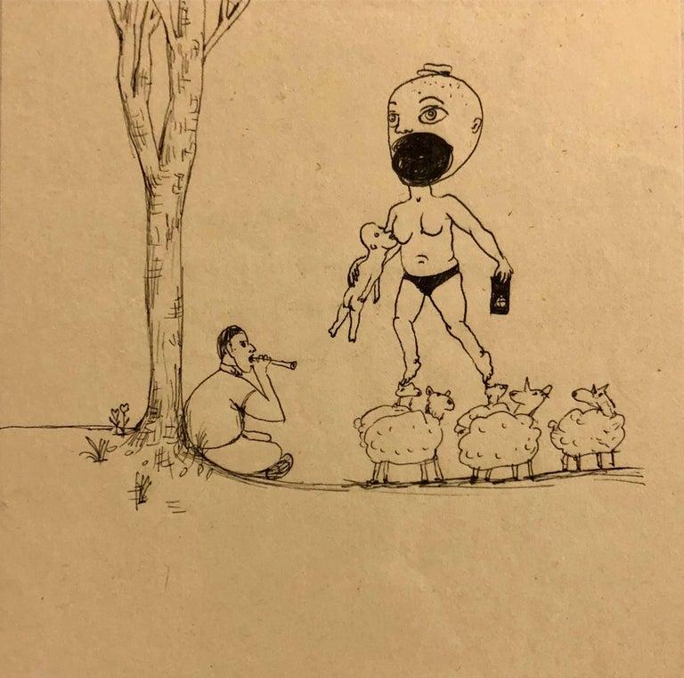 Jennifer Coates Figurative Art - Collaborative Contemporary Surrealist Cartoon Drawing Humphrey + Coates