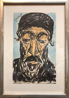 Modernist Watercolor Painting, Portrait of a Man, Judaica Rabbi