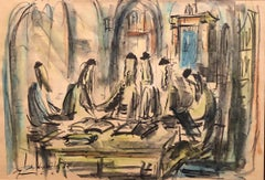 Rabbis Studying In Synagogue, Old Jerusalem, Judaica Painting