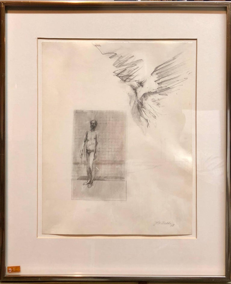 John Dobbs Figurative Art - Abstract Modernist Drawing of a Nude Man with Winged Figure, Angel