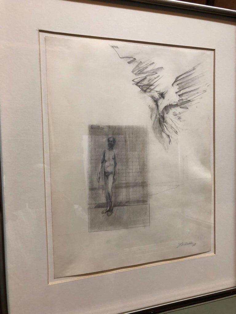 Abstract Modernist Drawing of a Nude Man with Winged Figure, Angel - Art by John Dobbs