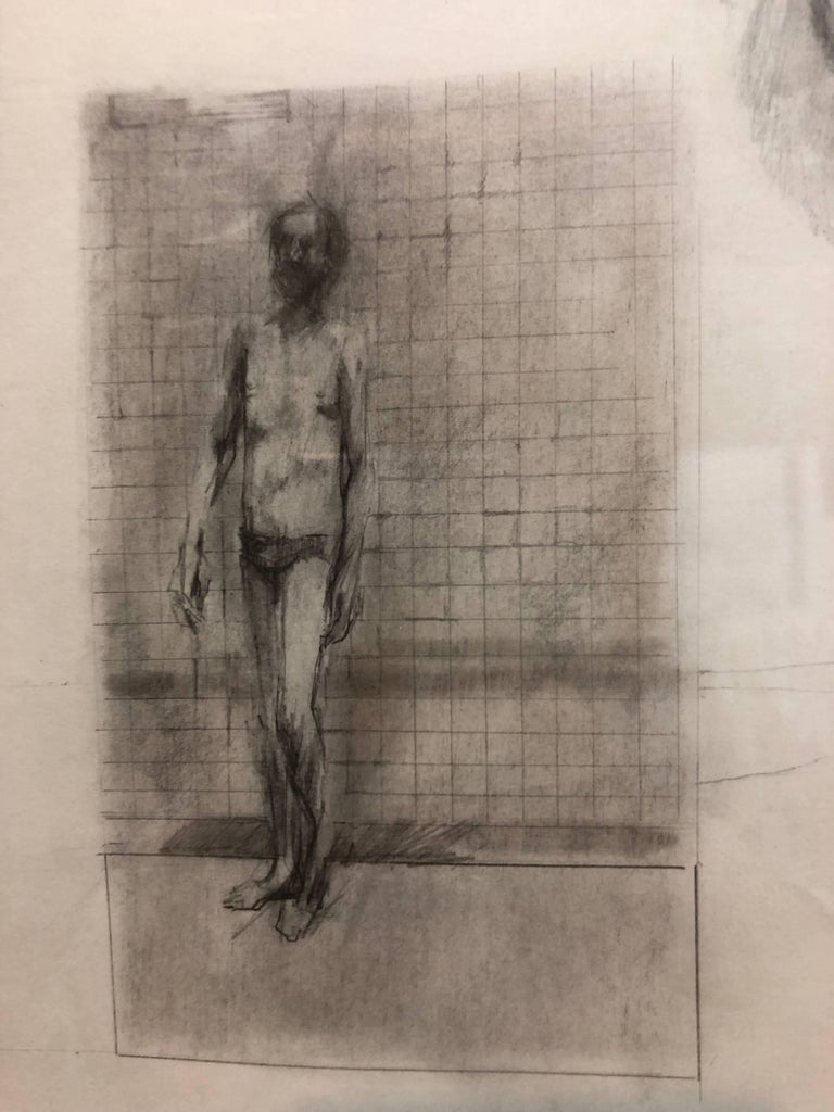Abstract Modernist Drawing of a Nude Man with Winged Figure, Angel - Beige Figurative Art by John Dobbs