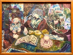 Assemblage Collage Painting Outsider Art Rabbis Studying, Jerusalem