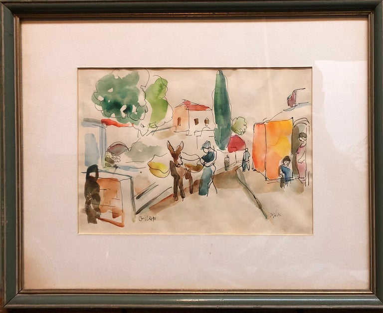 Old Yishuv, Israel, Watercolor Painting Israeli Modernist Kibbutz Artist - Beige Figurative Art by Aharon Giladi
