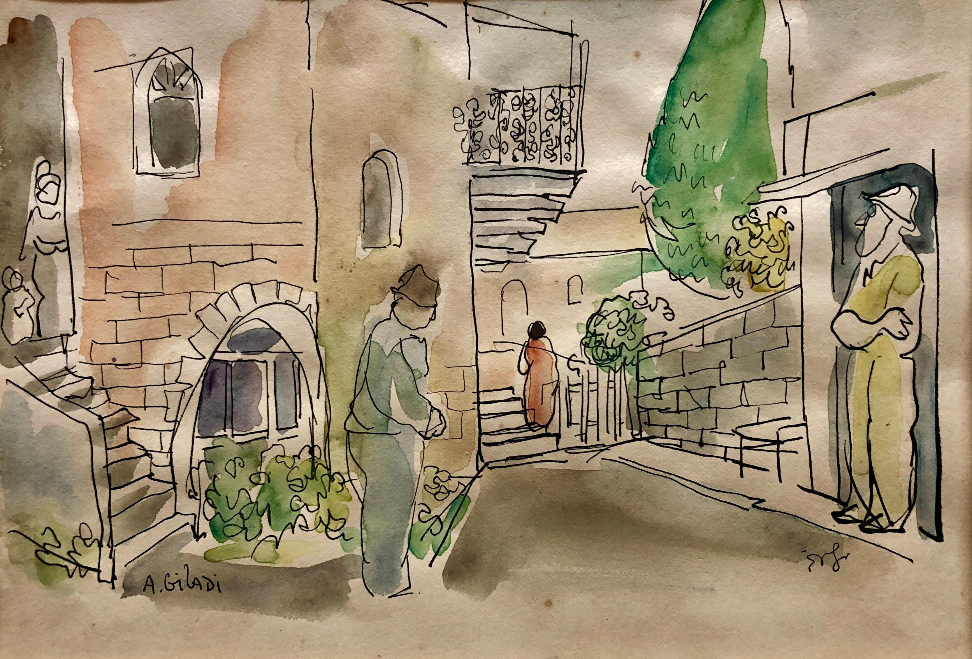 Old Yishuv, Israel, Watercolor Painting Israeli Modernist Kibbutz Artist 2 Sided