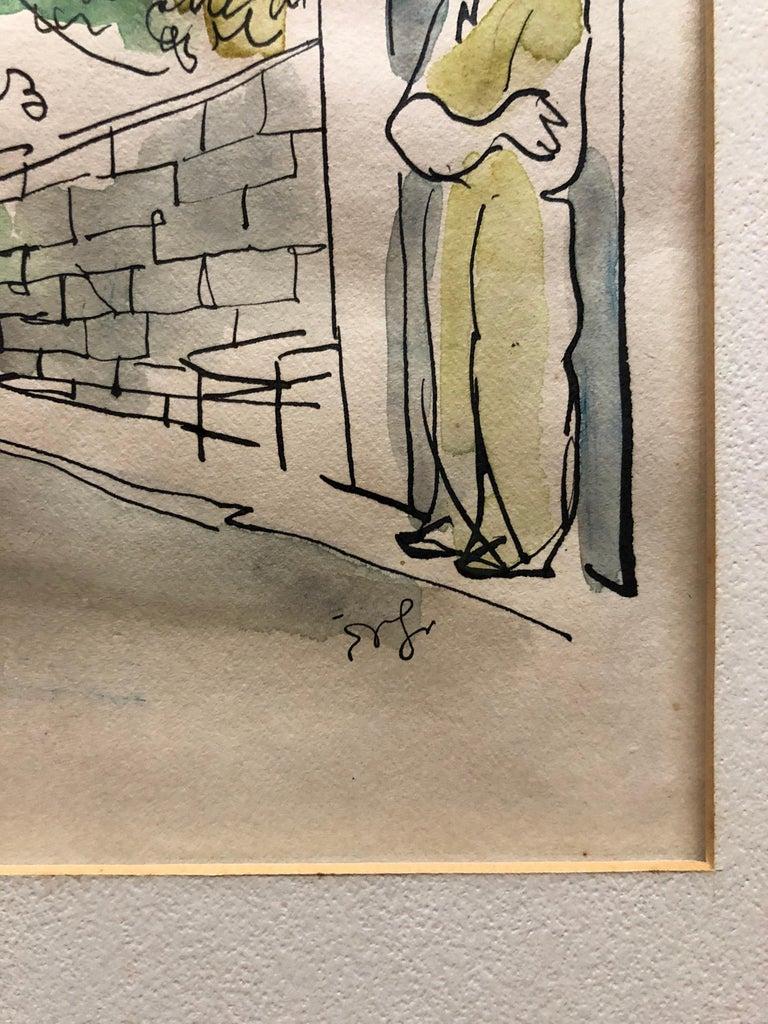 Old Yishuv, Israel, Watercolor Painting Israeli Modernist Kibbutz Artist 2 Sided For Sale 1