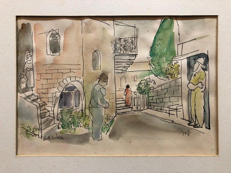 Old Yishuv, Israel, Watercolor Painting Israeli Modernist Kibbutz Artist 2 Sided - Brown Figurative Art by Aharon Giladi