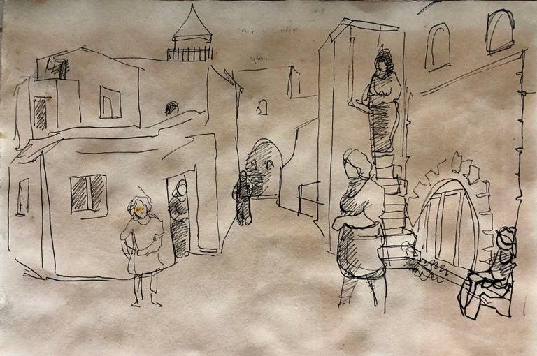 Old Yishuv, Israel, Watercolor Painting Israeli Modernist Kibbutz Artist 2 Sided For Sale 3