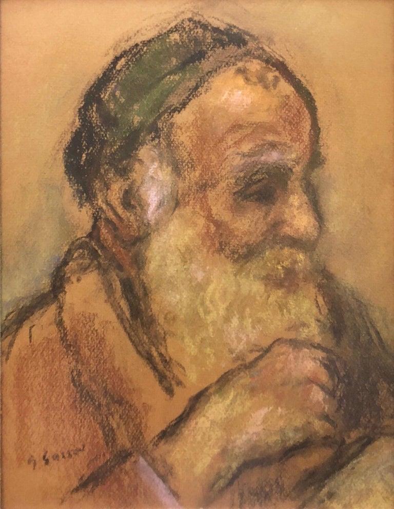 Judaica Pastel Portrait Rabbi Painting WPA Era Artist, Social Realist For Sale 1