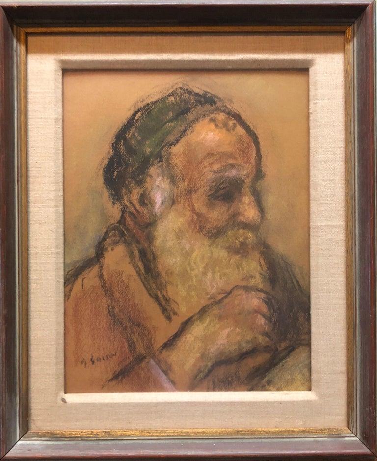 Judaica Pastel Portrait Rabbi Painting WPA Era Artist, Social Realist For Sale 2