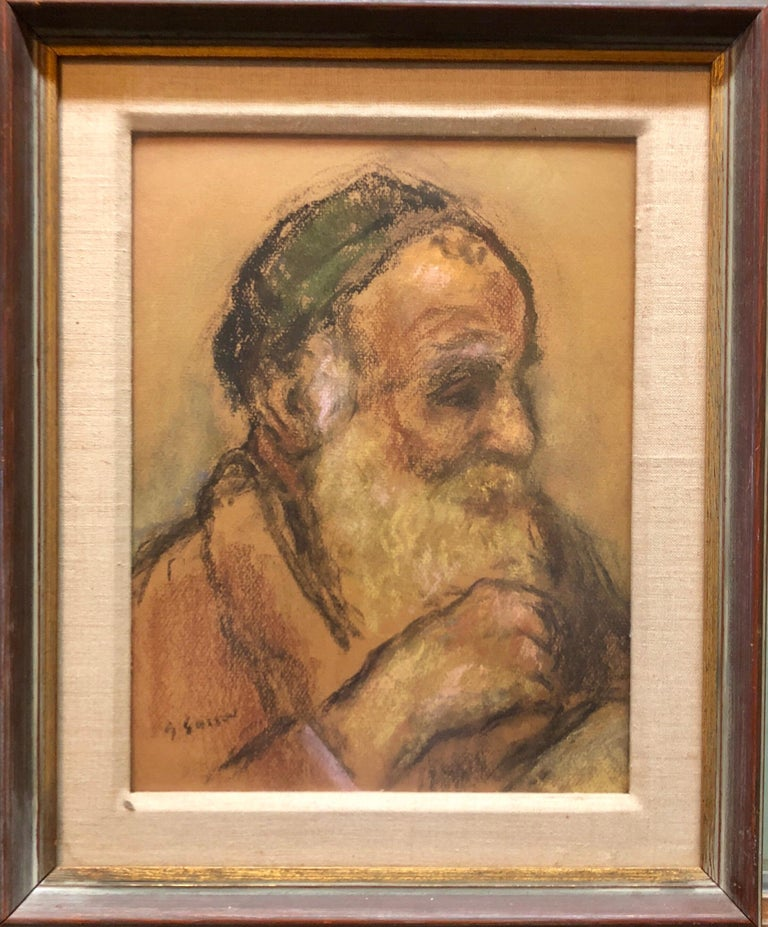 Judaica Pastel Portrait Rabbi Painting WPA Era Artist, Social Realist For Sale 3