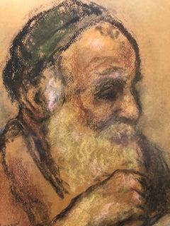 Judaica Pastel Portrait Rabbi Painting WPA Era Artist, Social Realist