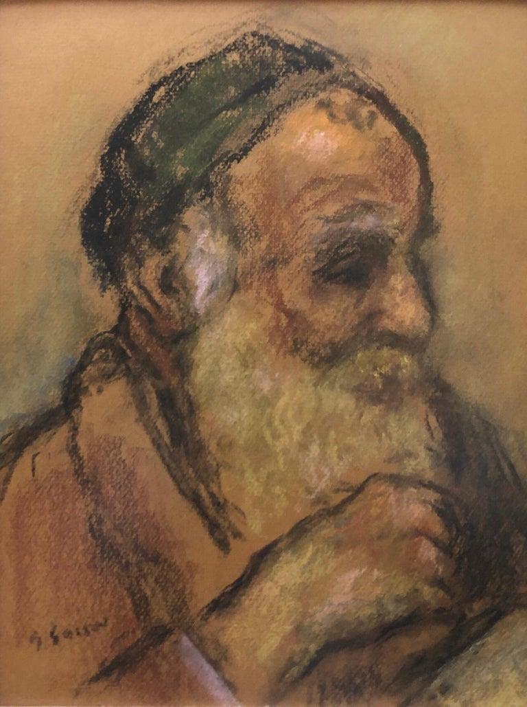 Judaica Pastel Portrait Rabbi Painting WPA Era Artist, Social Realist For Sale 5