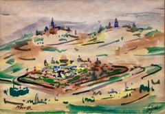Israeli Modernist Watercolor Painting Jerusalem Landscaape Bezalel School