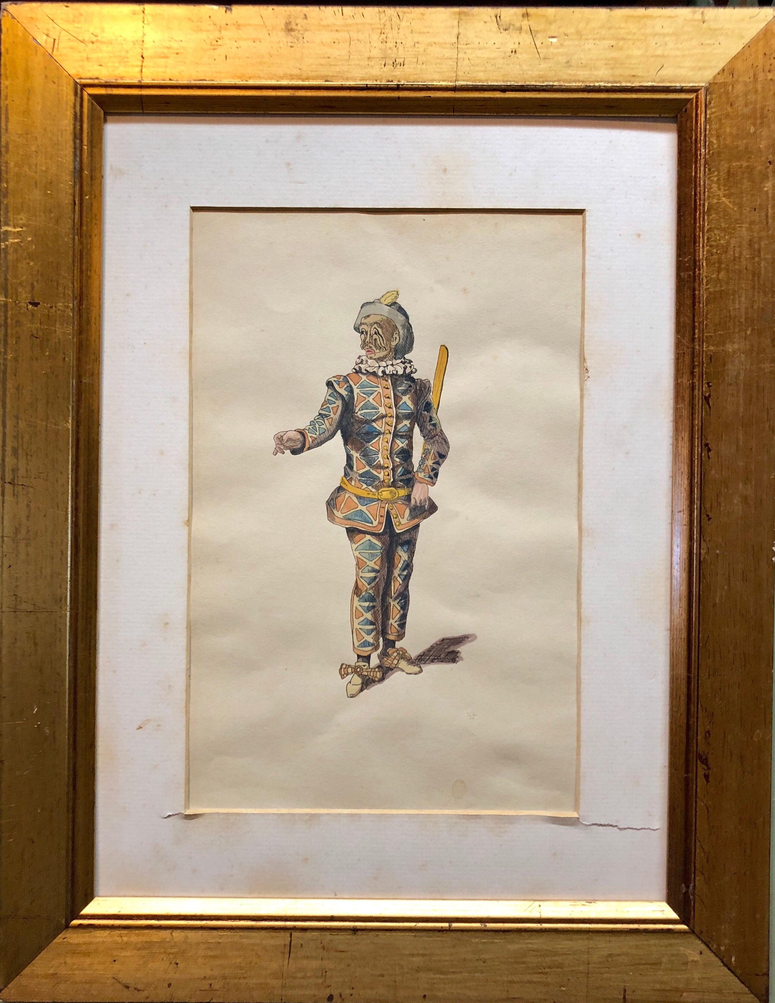Costume Stage Drawing Medieval Jester or Harlequin Figure Watercolor Painting