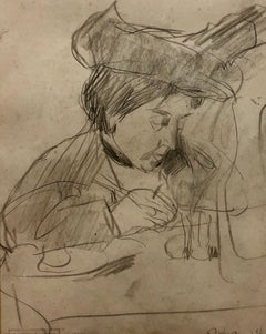 Framed Sketch Pencil Drawing of Woman in Cafe Scene Pre War Polish Jewish Art