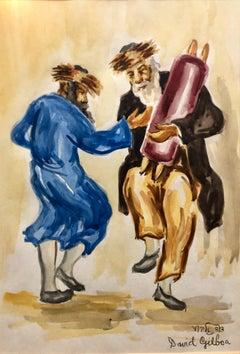 Rabbis Dancing, Israeli Judaica Gouache Painting