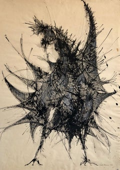 Large Ink Drawing Abstract Expressionist Rooster Woman Artist