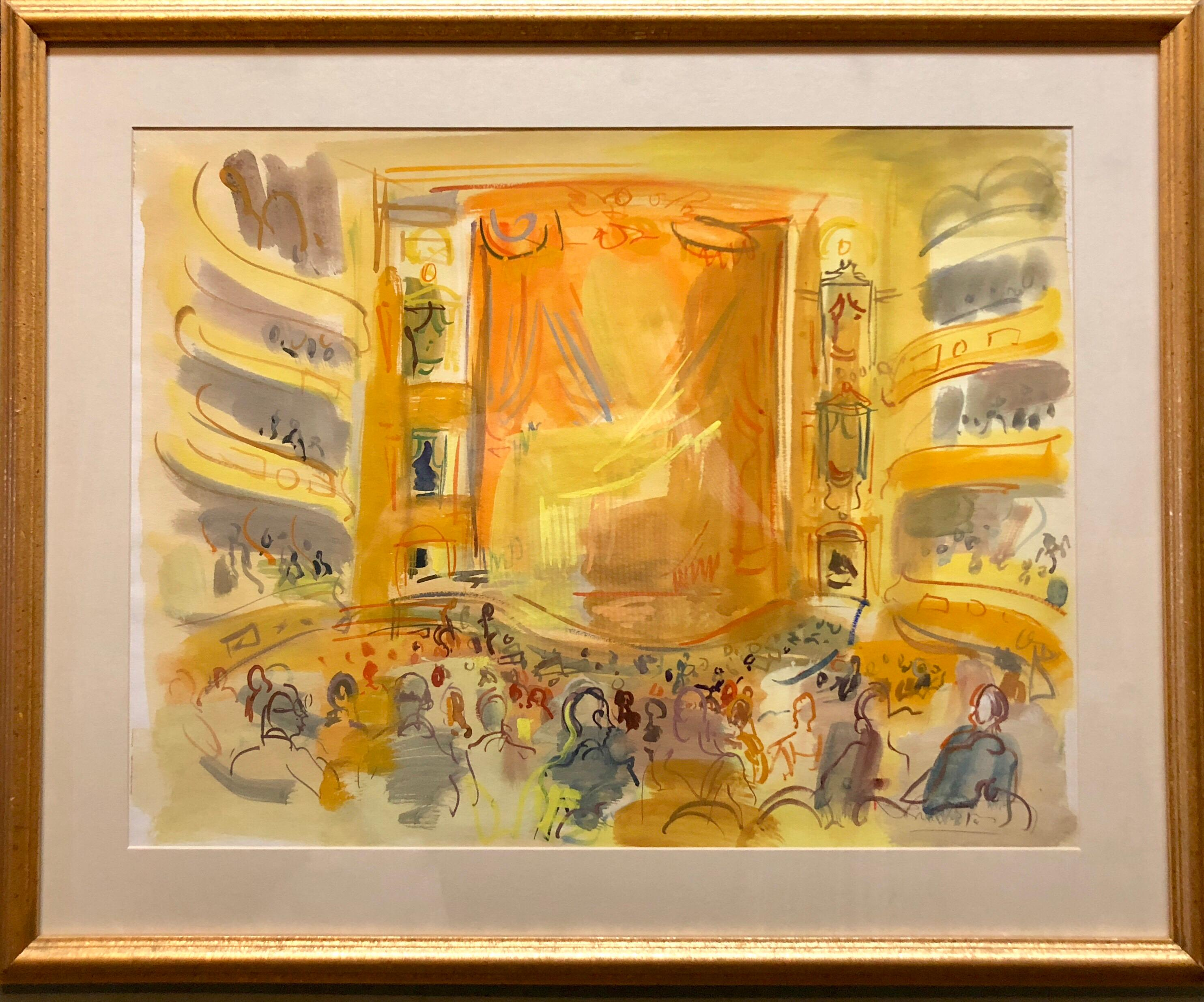 French Fauvist Gouache and Watercolor Painting Paris Opera or Theater Interior