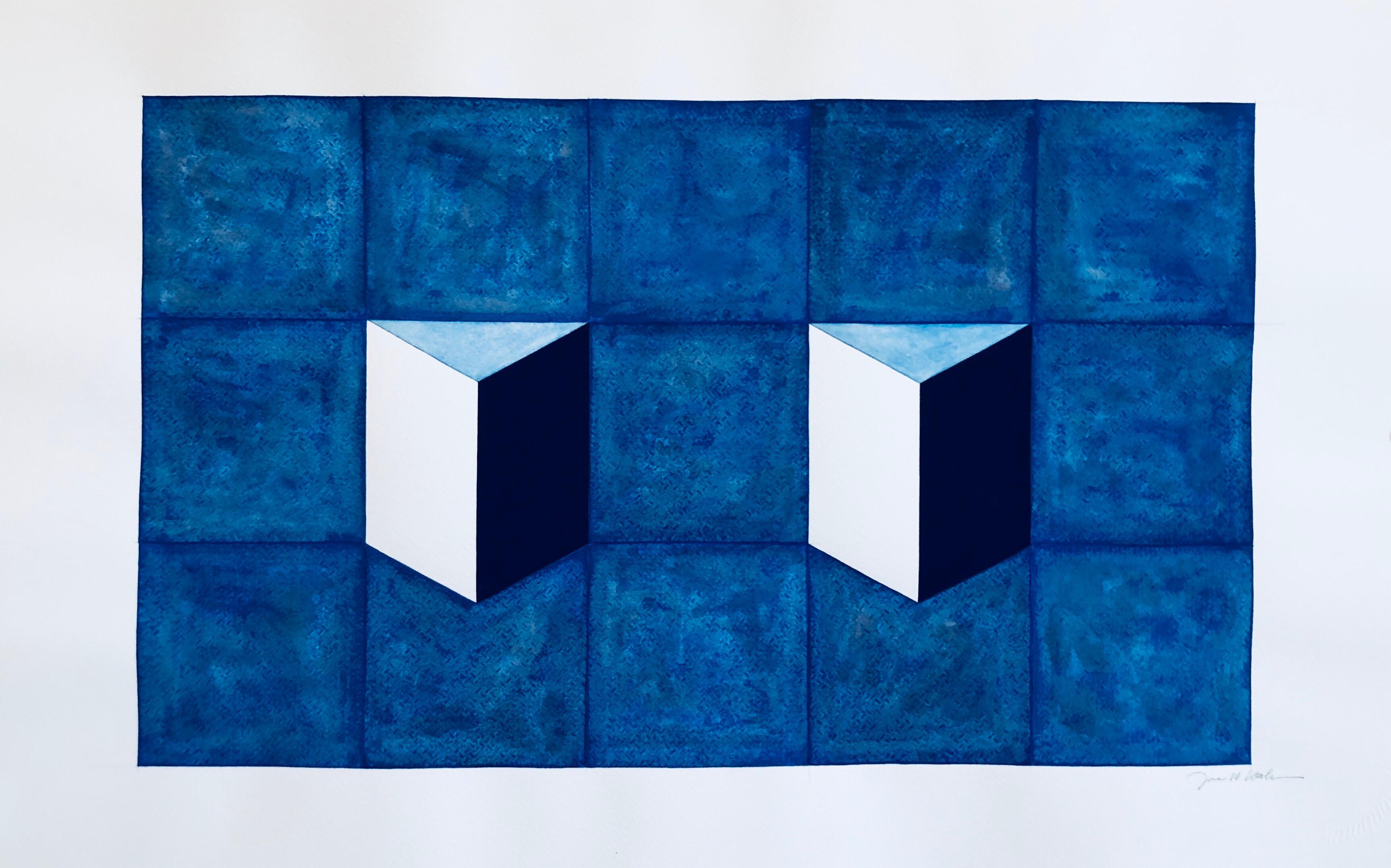 Korean Abstract Minimalist Gouache Painting LA Woman Artist MInimalism