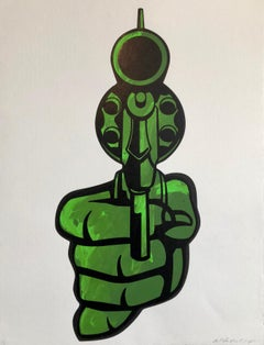 "Street Art Mixed Media Painting ""Bang"" Graffiti Style California Latino Artist"