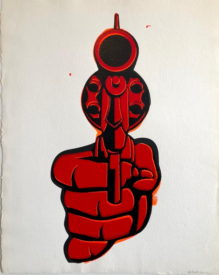 "Aldo Valdez Figurative Painting - Street Art Mixed Media Painting ""Bang"" Graffiti Style California Latino Artist"