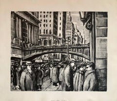 NYC Street Scene Vintage 1950s Lithograph WPA Style