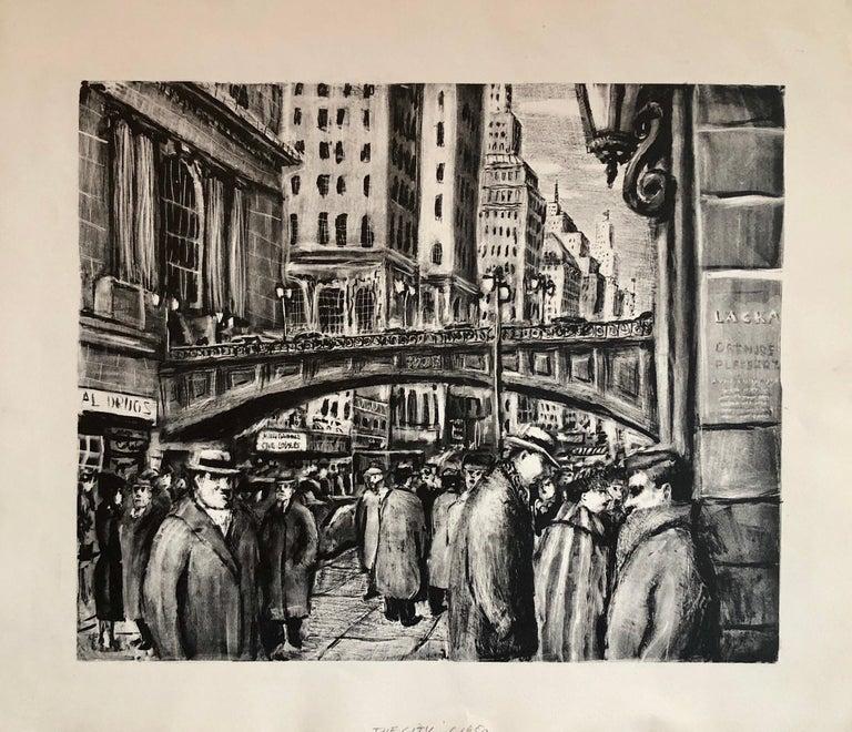 Benjamin Eisenstat Landscape Print - NYC Street Scene Vintage 1950s Lithograph WPA Style