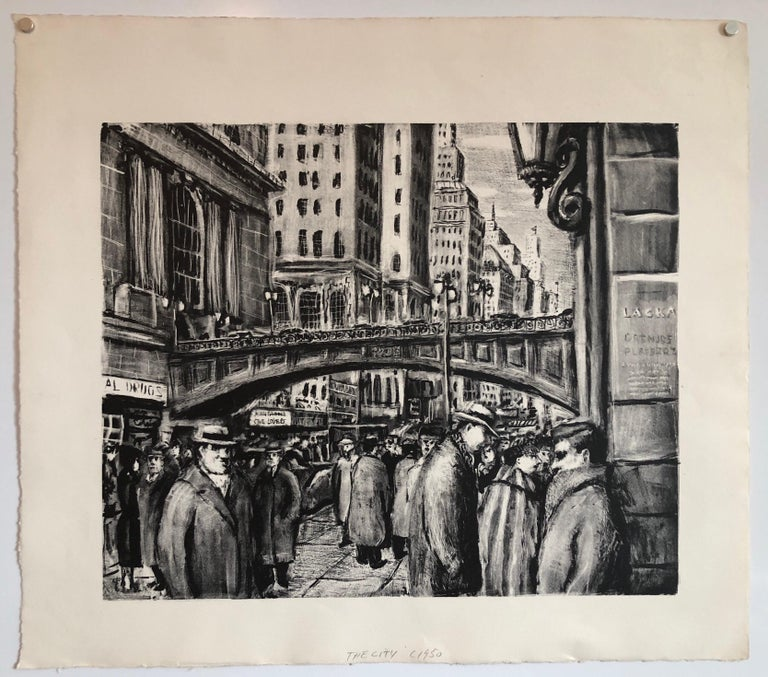 NYC Street Scene Vintage 1950s Lithograph WPA Style For Sale 1