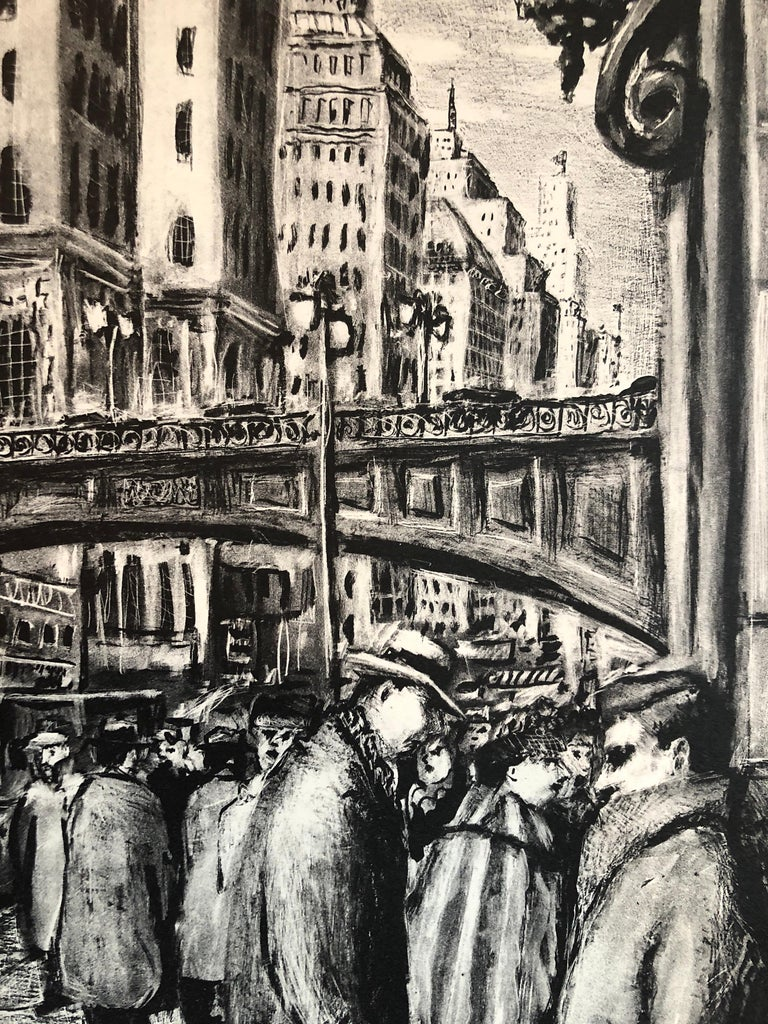 NYC Street Scene Vintage 1950s Lithograph WPA Style - Print by Benjamin Eisenstat