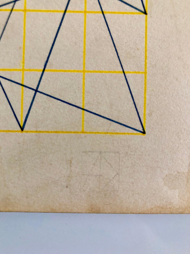 Untitled 1960s Abstract Geometric Expressionist New York Stable Gallery Drawing - Painting by Alvin Dickstein