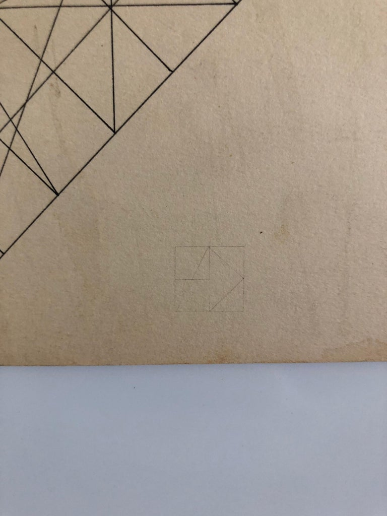Al Dickstein New York school Abstract Geometric work. Came in with small collection of his work including signed letters and a signeed card and some monogrammed pieces.. Signed with monogram and inscribed and signed verso.  Showed at New York's
