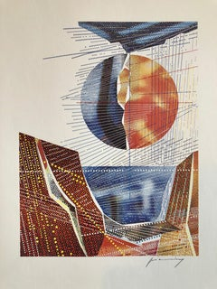 Pencil Signed Abstract Geometric Graphic Design Lithograph Print, Bauhaus Artist