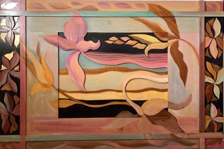Helen Webber Still-Life Sculpture - 1970s  Large Wood, Copper Inlay Sculpture Wall Relief Tropical Flowers Motif
