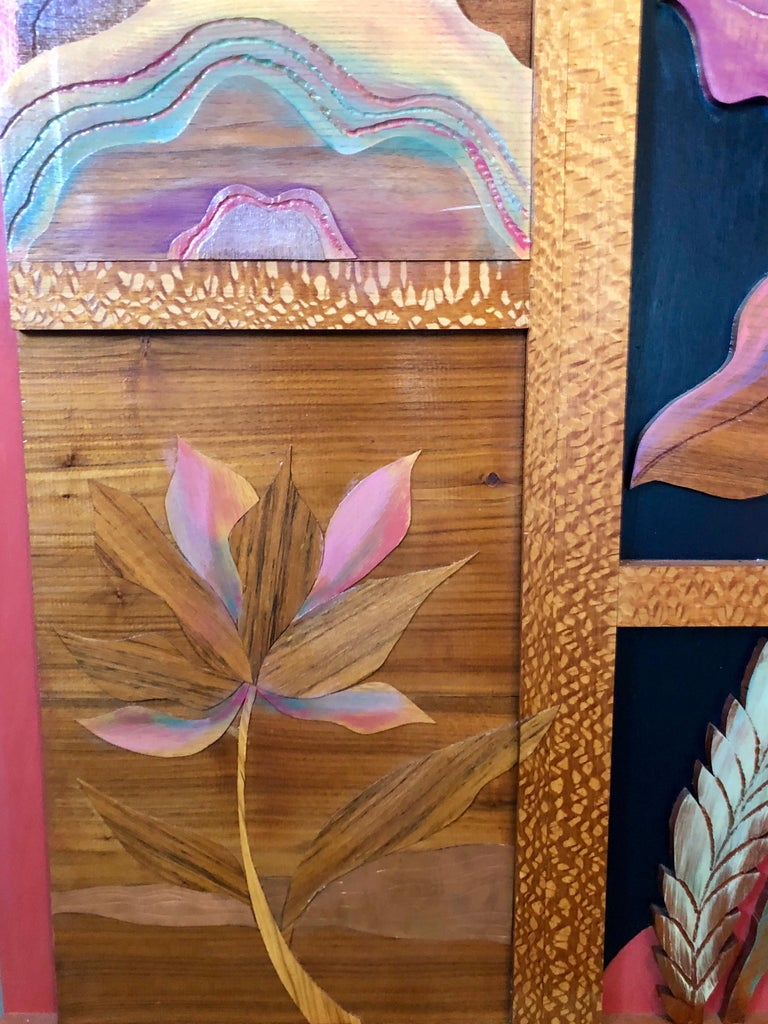 Helen Weber Large wall hanging wood and metal sculptural relief in a tropical Hawaiian or Polynesian motif with tropical flowers.