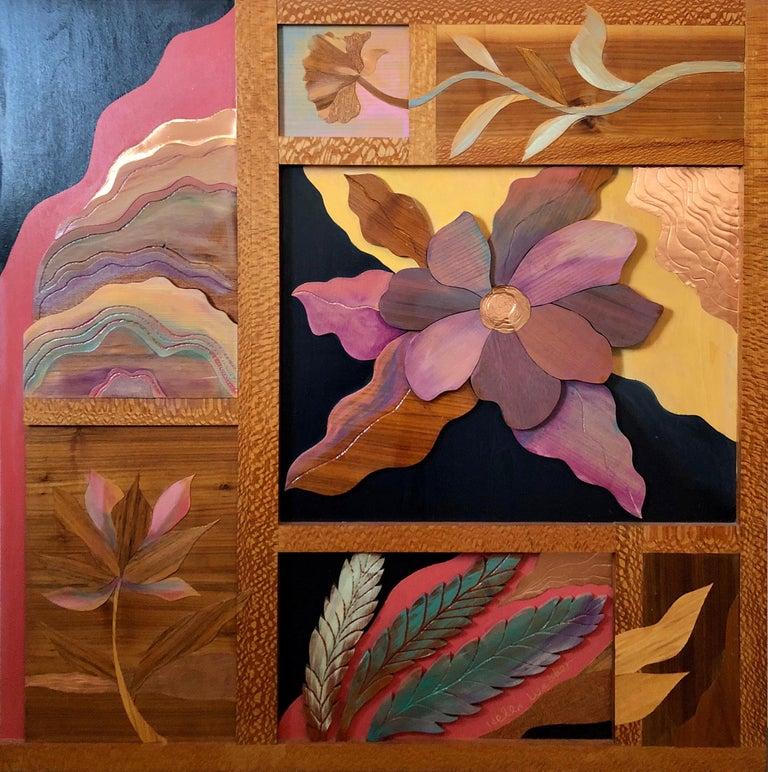Helen Weber Still-Life Sculpture - 1970s  Large Wood, Copper Inlay Sculpture Wall Relief Tropical Flowers Motif